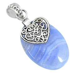 20.61cts natural blue lace agate 925 sterling silver heart pendant r90970
