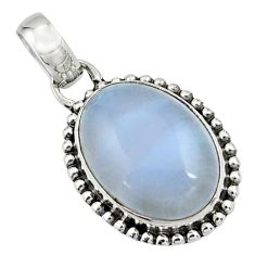 14.05cts natural blue lace agate 925 sterling silver pendant jewelry r26516