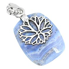 23.97cts natural blue lace agate 925 sterling silver pendant jewelry r90974