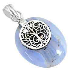 20.98cts natural blue lace agate 925 sterling silver pendant jewelry r91216