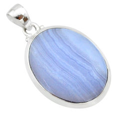 17.91cts natural blue lace agate 925 sterling silver pendant jewelry t22531