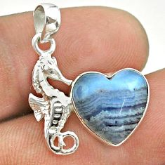 5.87cts natural blue lace agate 925 sterling silver seahorse pendant t55256