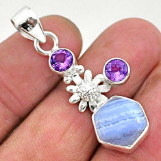 6.39cts natural blue lace agate amethyst 925 silver flower pendant r96893