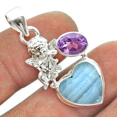 8.42cts natural blue lace agate heart amethyst 925 silver angel pendant t55455