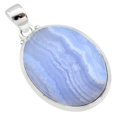 19.89cts natural blue lace agate oval 925 sterling silver pendant jewelry t22525