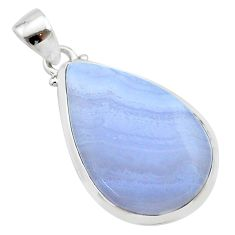 16.82cts natural blue lace agate pear 925 sterling silver pendant jewelry t22529