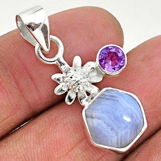 5.22cts natural blue lace agate purple amethyst 925 silver flower pendant r96896