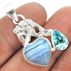 9.04cts natural blue lace agate topaz 925 sterling silver fish pendant t55434