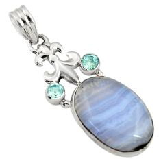 Clearance Sale- 18.15cts natural blue lace agate topaz 925 sterling silver pendant d43522