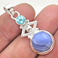 6.55cts natural blue lace agate topaz 925 sterling silver pendant jewelry t46398