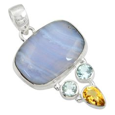 Clearance Sale- 19.99cts natural blue lace agate topaz citrine 925 silver pendant jewelry d43521