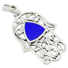 4.89gms natural blue lapis enamel 925 silver hand of god hamsa pendant c12507