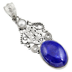 Clearance Sale- 13.71cts natural blue lapis lazuli 925 silver hand of god hamsa pendant d43825