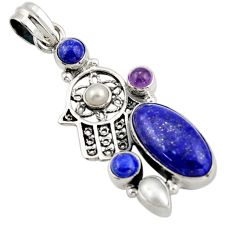 11.02cts natural blue lapis lazuli 925 silver hand of god hamsa pendant d47242