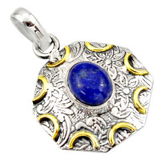 4.30cts natural blue lapis lazuli 925 sterling silver 14k gold pendant r37110