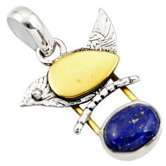4.05cts natural blue lapis lazuli 925 sterling silver 14k gold pendant r37127