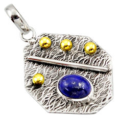 3.14cts natural blue lapis lazuli 925 sterling silver 14k gold pendant r37170
