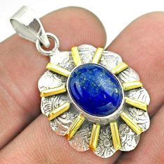 5.36cts natural blue lapis lazuli 925 sterling silver 14k gold pendant t55667