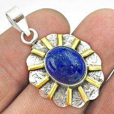 5.12cts natural blue lapis lazuli 925 sterling silver 14k gold pendant t55673