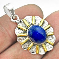 5.38cts natural blue lapis lazuli 925 sterling silver 14k gold pendant t55685
