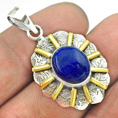 4.92cts natural blue lapis lazuli 925 sterling silver 14k gold pendant t55689