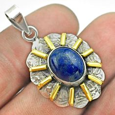 5.36cts natural blue lapis lazuli 925 sterling silver 14k gold pendant t55698