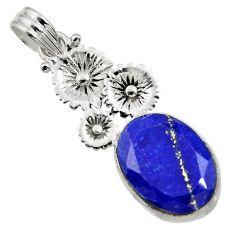Clearance Sale- 12.83cts natural blue lapis lazuli 925 sterling silver flower pendant d43834