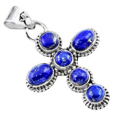 6.03cts natural blue lapis lazuli 925 sterling silver holy cross pendant r55909