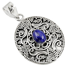 2.19cts natural blue lapis lazuli 925 sterling silver pendant jewelry d39229