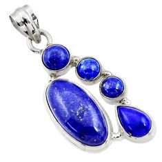 Clearance Sale- 12.40cts natural blue lapis lazuli 925 sterling silver pendant jewelry d43821