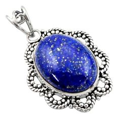 16.17cts natural blue lapis lazuli 925 sterling silver pendant jewelry d46622