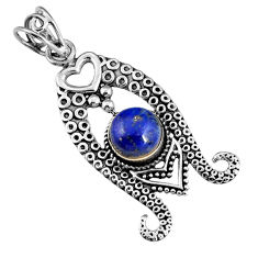 3.01cts natural blue lapis lazuli 925 sterling silver pendant jewelry r19569
