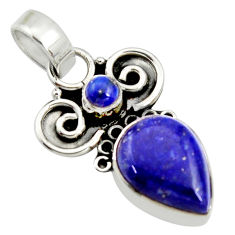 7.15cts natural blue lapis lazuli 925 sterling silver pendant jewelry r24962