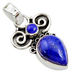 7.17cts natural blue lapis lazuli 925 sterling silver pendant jewelry r24963