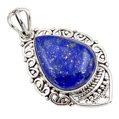 11.55cts natural blue lapis lazuli 925 sterling silver pendant jewelry r32262