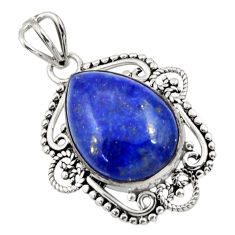 11.73cts natural blue lapis lazuli 925 sterling silver pendant jewelry r32303