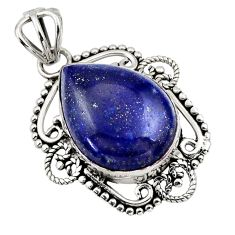 12.58cts natural blue lapis lazuli 925 sterling silver pendant jewelry r32322