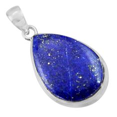 16.61cts natural blue lapis lazuli 925 sterling silver pendant jewelry r36323