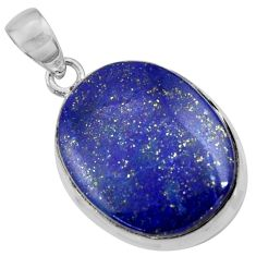 17.74cts natural blue lapis lazuli 925 sterling silver pendant jewelry r36333
