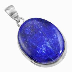18.77cts natural blue lapis lazuli 925 sterling silver pendant jewelry r36338