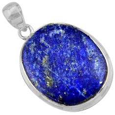 18.84cts natural blue lapis lazuli 925 sterling silver pendant jewelry r36354