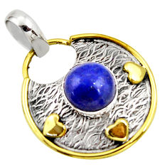4.93cts natural blue lapis lazuli 925 sterling silver pendant jewelry r37151