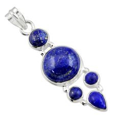 14.43cts natural blue lapis lazuli 925 sterling silver pendant jewelry r43148