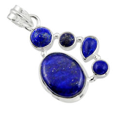14.80cts natural blue lapis lazuli 925 sterling silver pendant jewelry r43149