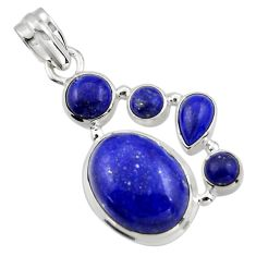 15.25cts natural blue lapis lazuli 925 sterling silver pendant jewelry r43150