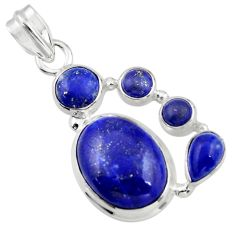 14.90cts natural blue lapis lazuli 925 sterling silver pendant jewelry r43152