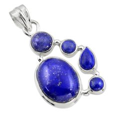 14.88cts natural blue lapis lazuli 925 sterling silver pendant jewelry r43153