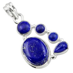 14.84cts natural blue lapis lazuli 925 sterling silver pendant jewelry r43155