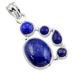 14.41cts natural blue lapis lazuli 925 sterling silver pendant jewelry r43157