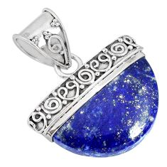16.15cts natural blue lapis lazuli 925 sterling silver handmade pendant r85041